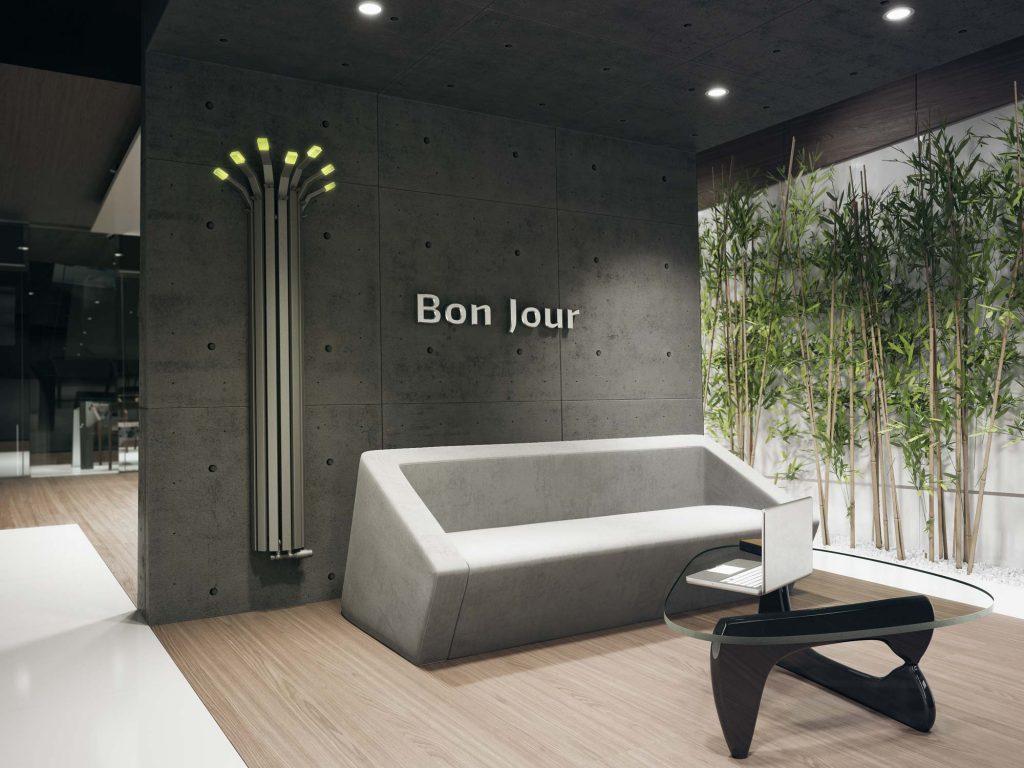 Grzejnik Bambus BS wnętrze holu hotelu