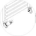 Zawór termostatyczny Schlosser MINI osiowo lewy głowica na zasilaniu