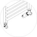 Zawór termostatyczny Schlosser MINI osiowo prawy głowica na zasilaniu